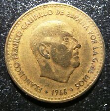 1966 Spain Franco & Shield One Peseta coin Fine Grade