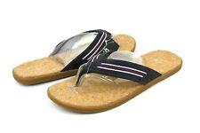 UGG Seaside Flip Leather Textile Mesh Lined Navy Stripes Size 9 US Men's