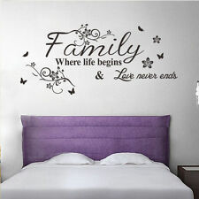 """Quote Words Wall Sticker """"Family Where Life Begins"""" Decal Vinyl Decor Mural"""