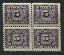Canada 1906 5 cents Postage Due block of 4 unmounted mint NH