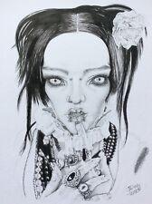 BJD Gothic Pashapasha Jewelled Woman Portrait Art Signed Original pen&Ink A4