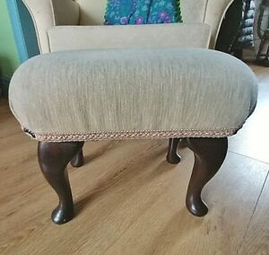 "VINTAGE FOOTSTOOL ~ WOODEN CABRIOLE LEGS ~ CREAM/MOCHA  UPHOLSTERY ~ 14"" HIGH"
