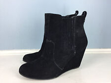 BCBGeneration BCBG Black womens suede Ankle boots wedges 6 Career Casual