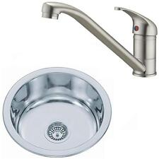 Brushed Set Small Bowl Stainless Steel Inset Kitchen Sink & Mixer Tap KST073 bs