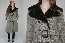 Vintage 60s MOD Brown Flecked TWEED Faux Fur BELTED Dress Coat Jacket~M