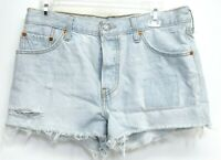 Levi's Womens Button Fly Patched Blue Cut Off Mid Rise Denim Shorts Size 29