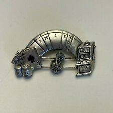 Pewter Black Jack Slot Machine Gambling Good Luck Moving Parts Brooch MP39