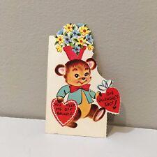 Vtg Valentine Card Little Teddy Bear Blue Vest Flower Pot On Head Unused