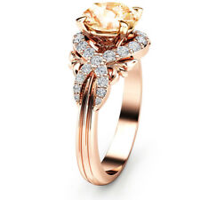 Gorgeous Wedding Rings for Women Rose Gold Filled Round Cut Crystal Size 7
