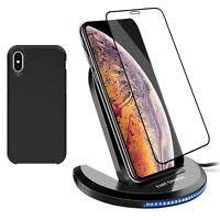 For iPhone XS Max XR X Qi Wireless Fast Charger Stand Pad+Case+Screen Protector