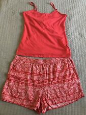Size 18 Coral Cami Size 20 Red White Floral Aztec Style Soft Pull Up Shorts Set