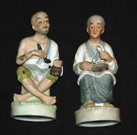 Old Man and Woman Ceramic Figurines Porcelain Vintage Collectibles European EUC