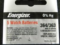 Energizer 364/363 SR621W, SR621SW Battery, 5 Pcs