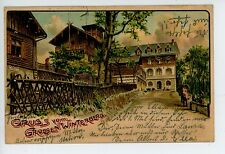 Gruss vom Grossen Winterberg—Advertising AK Antique Hotel USA Posted 1902