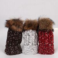 Winter Warm Women Crochet Ski Cap Beret Beanie Bobble Wool Knit Crochet Hat