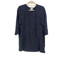 Pure J Jill Womens sz XL Blue Pinstripe Hemp Cotton Blend 3/4 Sleeve Knit Top