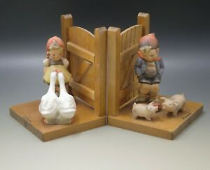 HUMMEL Goebel PAIR OF BOOKENDS FARM BOY AND GOOSE GIRL FULL BEE