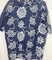 Kahala 100% Cotton Lawn High Thread Count Blue White Flowers Hawaiian Shirt M