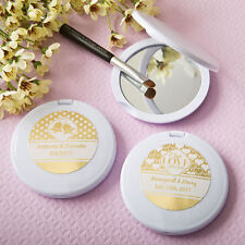 60 - Personalized Gold or Silver Metallic Compact Mirror - Wedding Party Favor