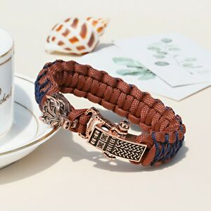 Wolf Head Hinge Connector Bangles Paracord Outdoor Linen braided Woven Bracelets