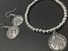 Bijoux Coin Jewellery Beaded Stretch Bracelet With Old English One Penny Coin