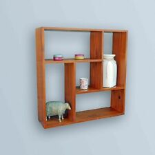 Brown Wooden Cube Wall Shelf Storage Shelving Pigeon Hole Display Shelving Unit