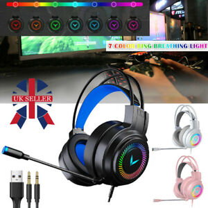 Gaming Headset RGB LED Wired Headphones Stereo + Mic For One/PS4 PC Xbox NEW