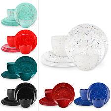 Confetti Melamine Dinnerware 12 pcs set Dinner & Salad Plates Bowls BPA Free