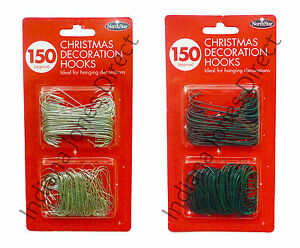 CHRISTMAS TREE 150 ORNAMENT HOOKS DECORATIONS BAUBLE BRANCH METAL WIRES HANGERS