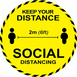 Keep Your Distance 2m Social Distancing Floor Sticker Self Adhesive Warning Sign