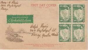 WW2 1943 NEW Philippines REHABILITATION 1st Year Fall Corregidor and Bataan FDC