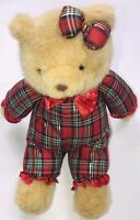 """Vintage Christmas Teddy Bear 11"""" Plush Matching Outfit And Bow"""