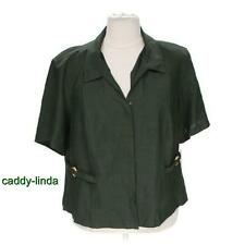 "NEW NWT R&K ORIGINALS 26W 2X 3X 4X DARK GREEN JACKET TOP 58"" BUST POLY BIN PLUS"