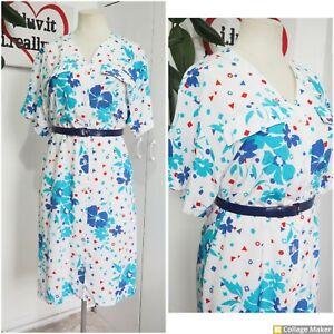 Vintage  Early 80s St Michaels Blue Pattern Shirt Midi Day Dress Size 14