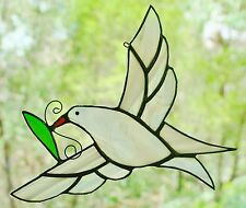 SNOW WHITE DOVE with OLIVE LEAF Stained Glass Suncatcher RELIGIOUS SPIRIT GIFTS