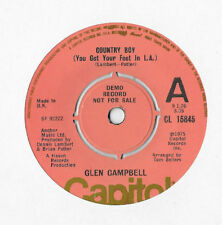 "GLEN CAMPBELL * COUNTRY BOY * 7"" DEMO SINGLE CAPITOL CL 15845 PLAYS GREAT"