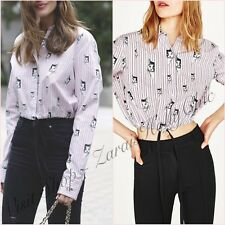 Zara Pink Cats Print Shirt Stripped Cropped Top Size L 12 US 8 Fashion Blogger ❤