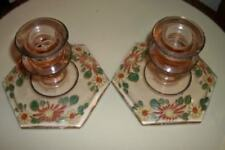 ANTIQUE DEPRESSION GLASS PINK HP FLORAL CANDLE HOLDERS 20's COTTAGE CHIC SHABBY