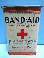 VINTAGE BAND-AID MERCUROCHROME PAD TIN HELD 36 ADHESIVE BANDAGES J&J 1930'S