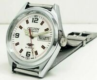 CITIZEN AUTOMATIC MEN,S STEEL PLATED VINTAGE WHITE DIAL MADE JAPAN WATCH ORDER
