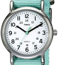 PRE-OWNED $44.95 Timex Women's Weekender Seafoam Green Nylon Watch T2P073 No Box
