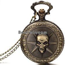 Bronze Tone Skull Ghost Cross Fire Quartz Watch Mens Womens Pendant Necklace