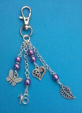 16th Birthday Tibetan Handbag Charm with Purple Beads, Heart & Butterfly.