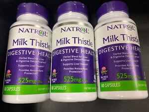 Lot Of 3 Natrol Milk Thistle 525 mg 60 Capsules Dairy-Free 100% Vegetarian