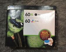New HP 60XL Black/60 Tri-color Combo Ink w/photo paper+envelopes OEM,Exp. 11/15