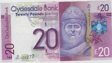 SCOTLAND CLYDESDALE BANK £20 NOTE 2015 P-New, Gem UNC ROBERT THE BRUCE 436277