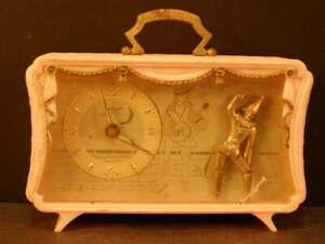 Vintage German SCHMID Music Box Dancer Clown Minstrel Novelty Mantle Alarm Clock