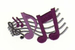 Aa05 Clef Sew-On Iron-On Music Notes Lines Gray Purple 2 7/8x2in