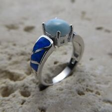 Size 8 (European Size 57) Blue LARIMAR FIRE OPAL Ring, 925 STERLING SILVER #0547