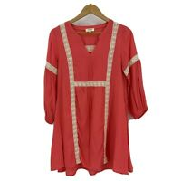 Umgee Women's Dress Size S Babydoll Lace Coral Orange Pullover Boho Tunic S2